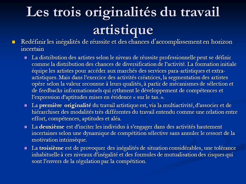 Les trois originalités du travail artistique Redéfinir les inégalités de réussite et des chances d'accomplissement en horizon incertain Redéfinir les