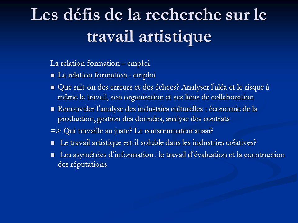 Les défis de la recherche sur le travail artistique La relation formation – emploi La relation formation - emploi La relation formation - emploi Que s