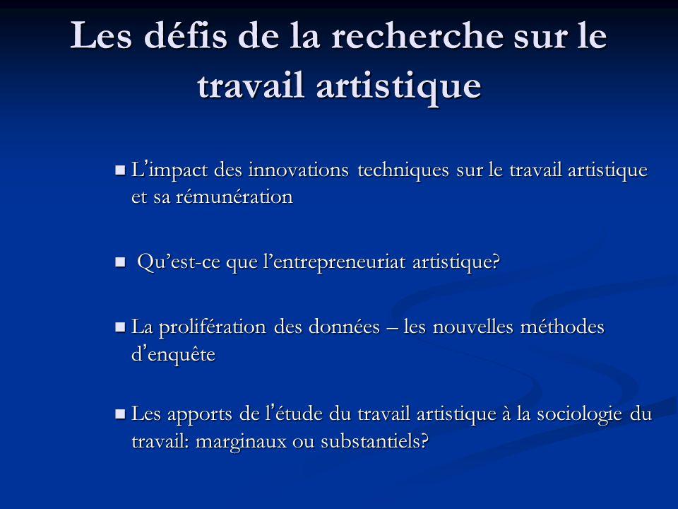 Les défis de la recherche sur le travail artistique L'impact des innovations techniques sur le travail artistique et sa rémunération L'impact des innovations techniques sur le travail artistique et sa rémunération Qu'est-ce que l'entrepreneuriat artistique.
