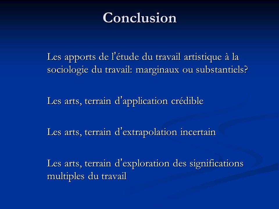 Conclusion Les apports de l'étude du travail artistique à la sociologie du travail: marginaux ou substantiels? Les arts, terrain d'application crédibl