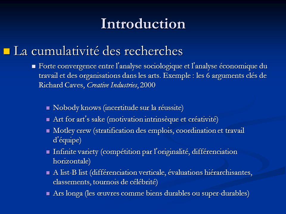 Introduction La cumulativité des recherches La cumulativité des recherches Forte convergence entre l'analyse sociologique et l'analyse économique du t