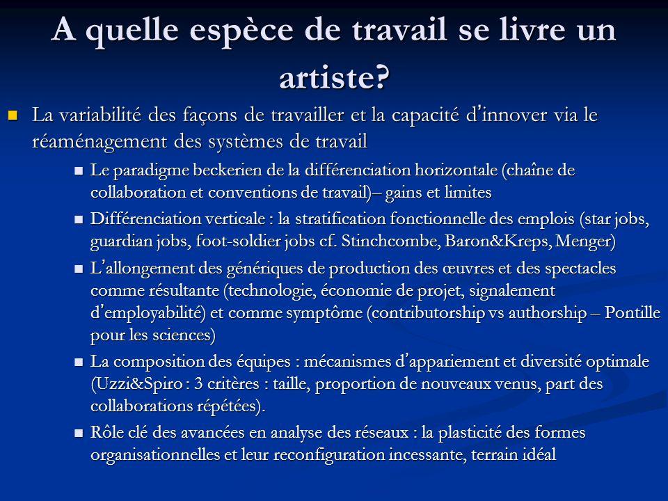 A quelle espèce de travail se livre un artiste? La variabilité des façons de travailler et la capacité d'innover via le réaménagement des systèmes de
