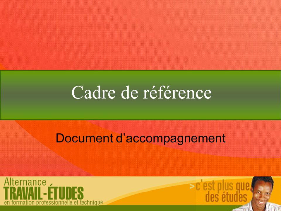 Cadre de référence Document d'accompagnement