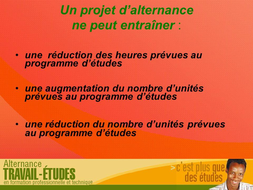 Un projet d'alternance ne peut entraîner : une réduction des heures prévues au programme d'études une augmentation du nombre d'unités prévues au programme d'études une réduction du nombre d'unités prévues au programme d'études