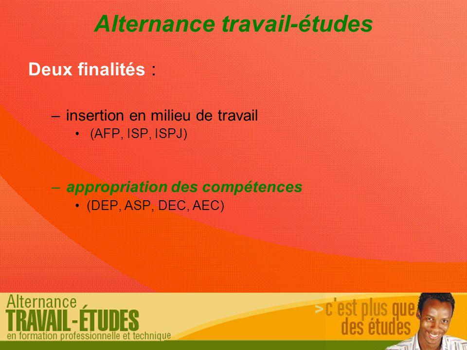 Alternance travail-études Deux finalités : –insertion en milieu de travail (AFP, ISP, ISPJ) –appropriation des compétences (DEP, ASP, DEC, AEC)