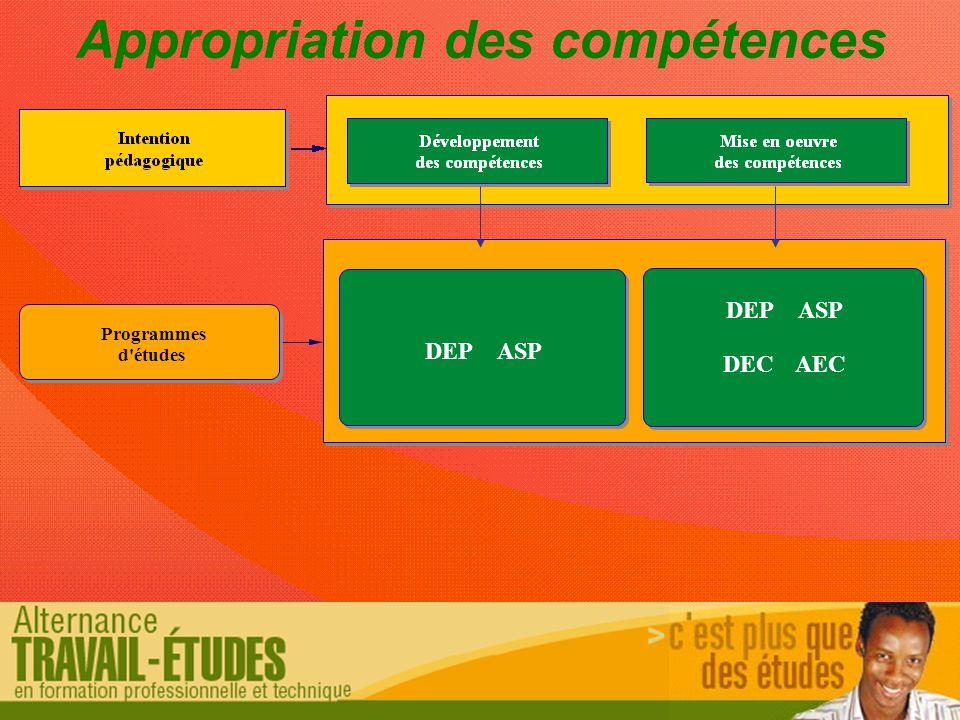 Programmes d études Appropriation des compétences DEPASP DEPASP DECAEC