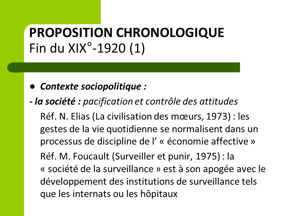 PROPOSITION CHRONOLOGIQUE Fin du XIX°-1920 (1) Contexte sociopolitique : - la société : pacification et contrôle des attitudes Réf. N. Elias (La civil