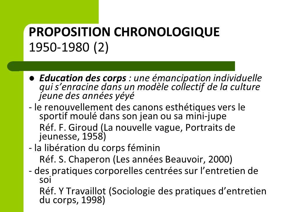 PROPOSITION CHRONOLOGIQUE 1950-1980 (2) Education des corps : une émancipation individuelle qui s'enracine dans un modèle collectif de la culture jeun