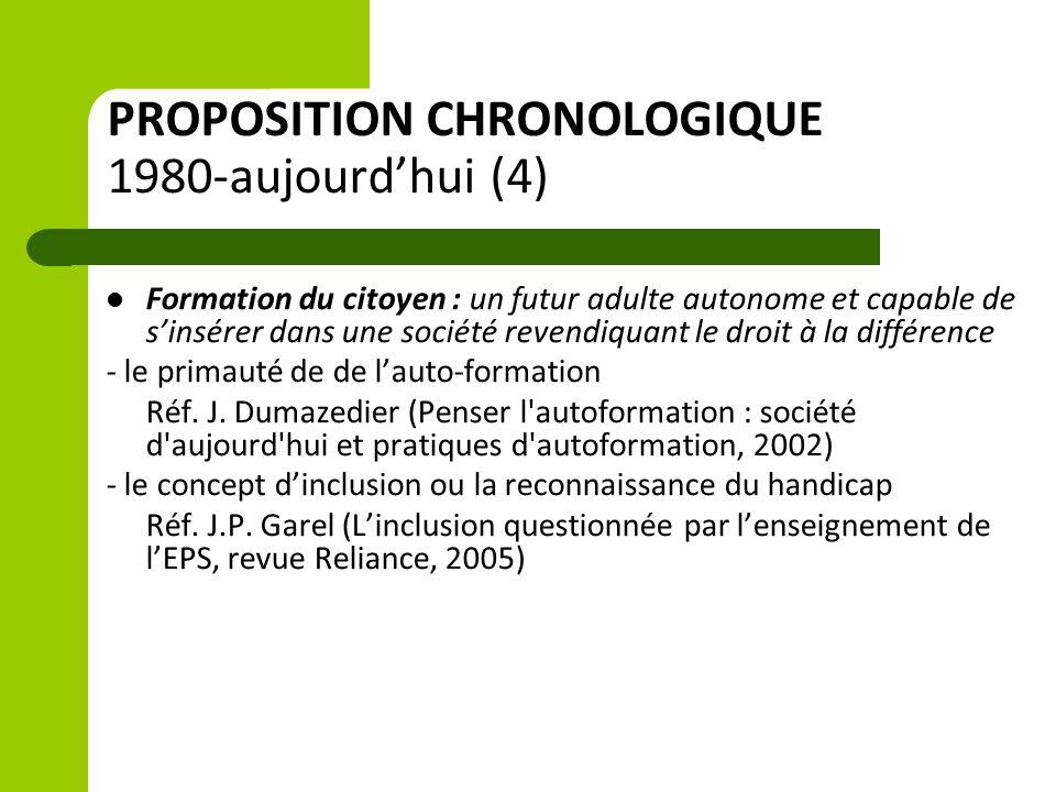 PROPOSITION CHRONOLOGIQUE 1980-aujourd'hui (4) Formation du citoyen : un futur adulte autonome et capable de s'insérer dans une société revendiquant le droit à la différence - le primauté de de l'auto-formation Réf.