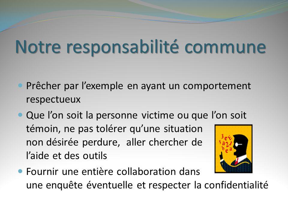 Notre responsabilité commune Prêcher par l'exemple en ayant un comportement respectueux Que l'on soit la personne victime ou que l'on soit témoin, ne