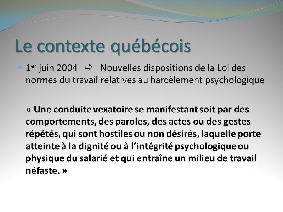 Le contexte québécois 1 er juin 2004  Nouvelles dispositions de la Loi des normes du travail relatives au harcèlement psychologique « Une conduite ve