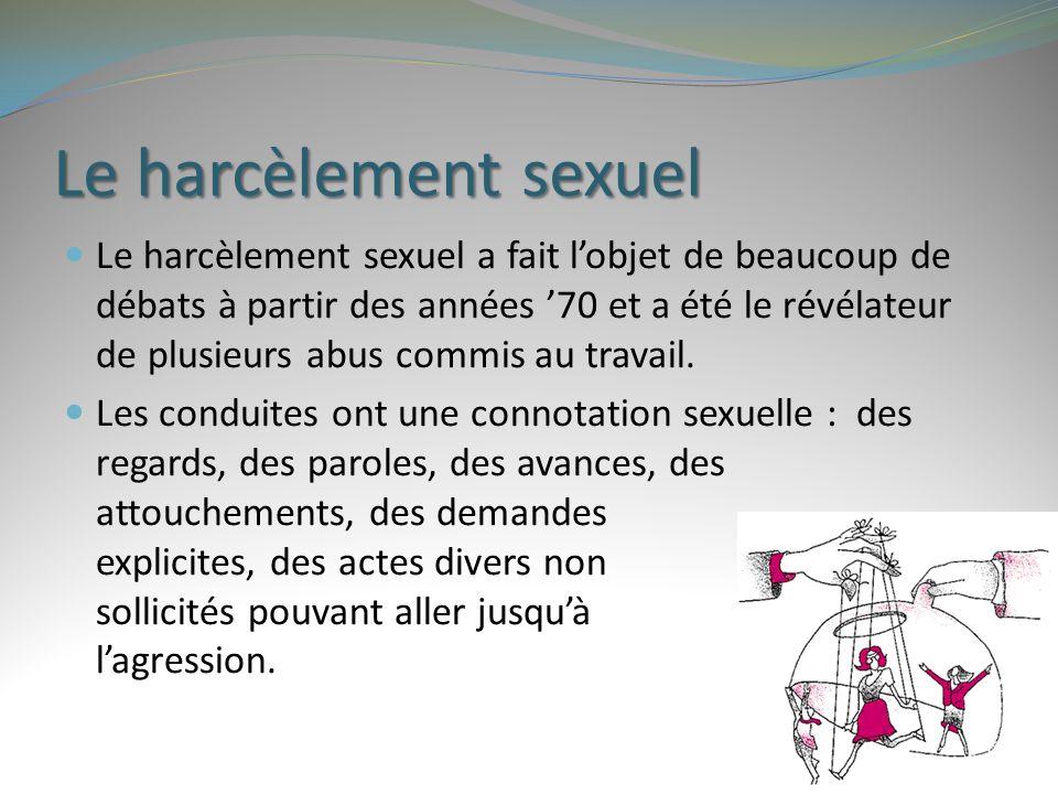 Le harcèlement sexuel Le harcèlement sexuel a fait l'objet de beaucoup de débats à partir des années '70 et a été le révélateur de plusieurs abus comm