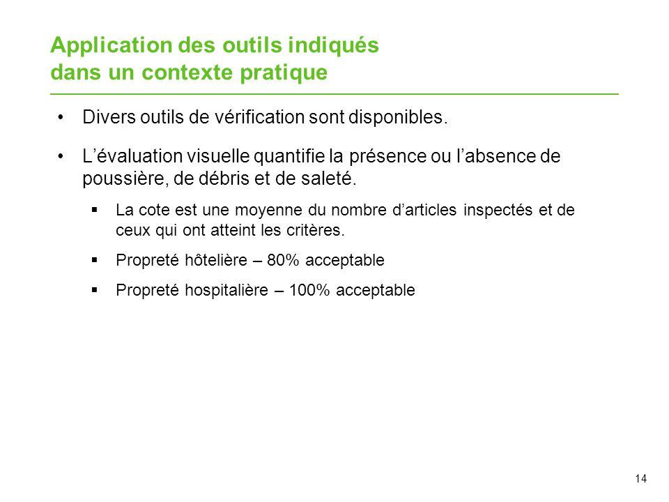 Application des outils indiqués dans un contexte pratique Divers outils de vérification sont disponibles. L'évaluation visuelle quantifie la présence