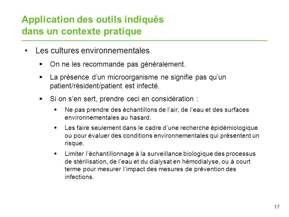 Application des outils indiqués dans un contexte pratique Les cultures environnementales  On ne les recommande pas généralement.  La présence d'un m