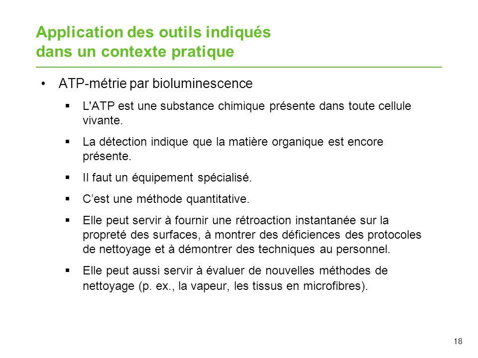 Application des outils indiqués dans un contexte pratique ATP-métrie par bioluminescence  L'ATP est une substance chimique présente dans toute cellul