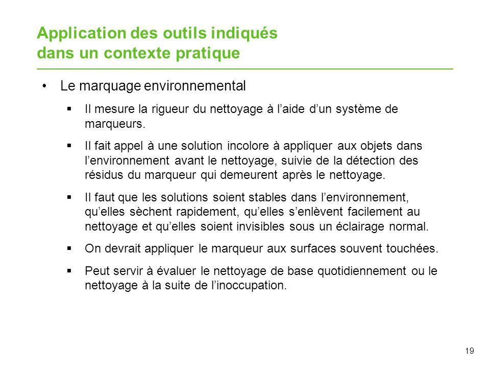 Application des outils indiqués dans un contexte pratique Le marquage environnemental  Il mesure la rigueur du nettoyage à l'aide d'un système de mar
