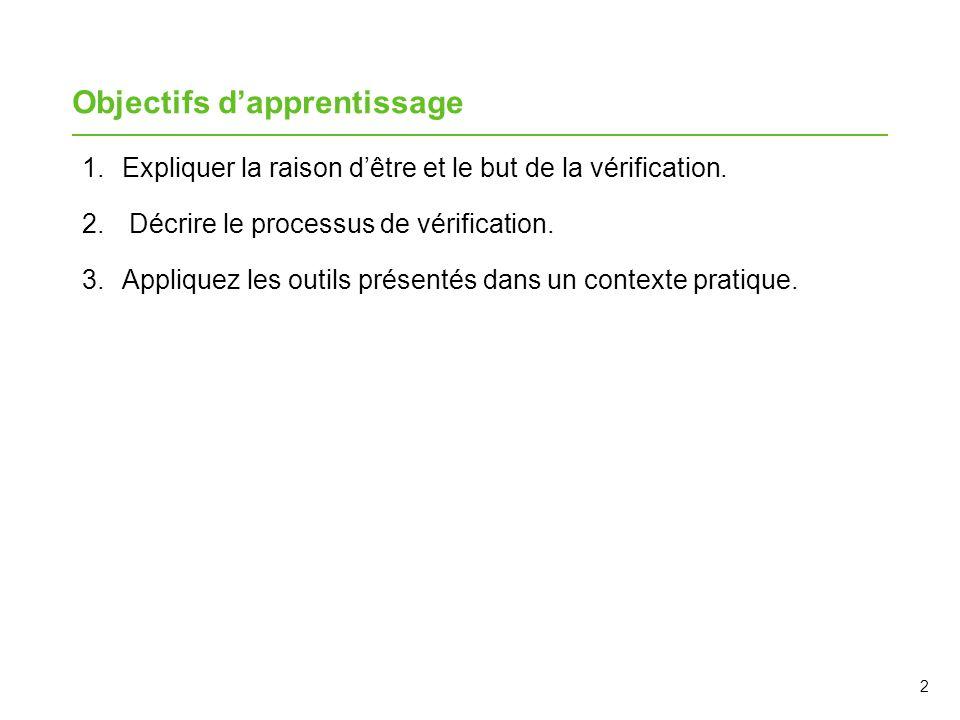 Le processus de vérification L'approche est standardisée.