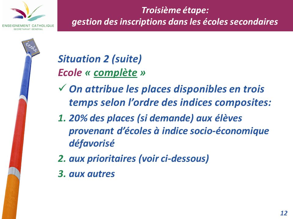 12 Situation 2 (suite) Ecole « complète » On attribue les places disponibles en trois temps selon l'ordre des indices composites: 1.20% des places (si