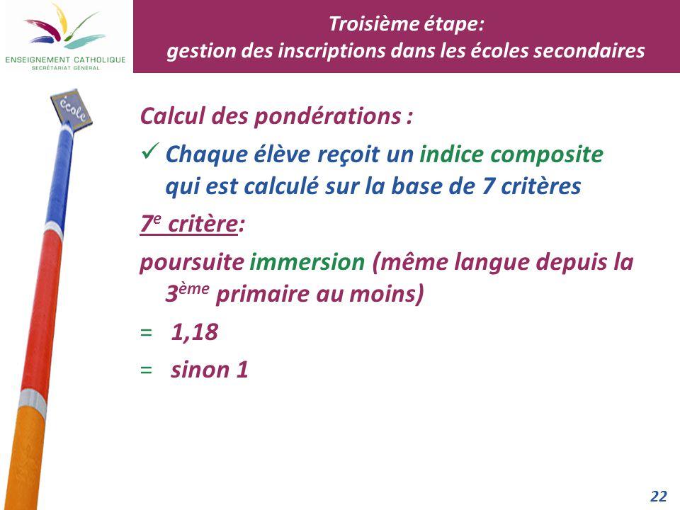 22 Calcul des pondérations : Chaque élève reçoit un indice composite qui est calculé sur la base de 7 critères 7 e critère: poursuite immersion (même