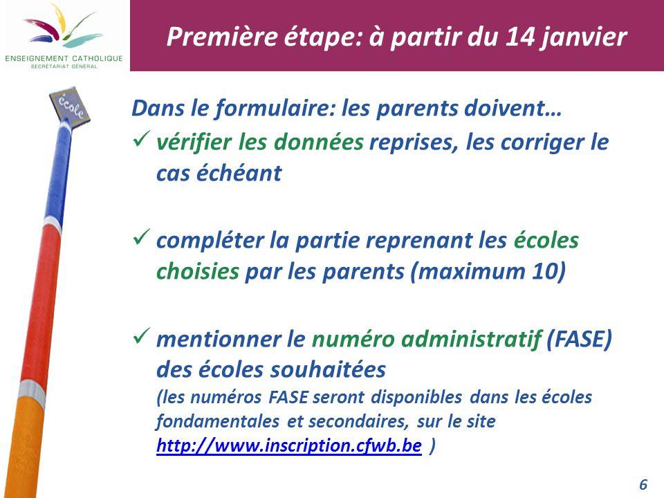 7 fermer le document en laissant visible uniquement l'école de la première préférence Il est conseillé aux parents de prendre un contact préalable avec les écoles secondaires de leur choix.
