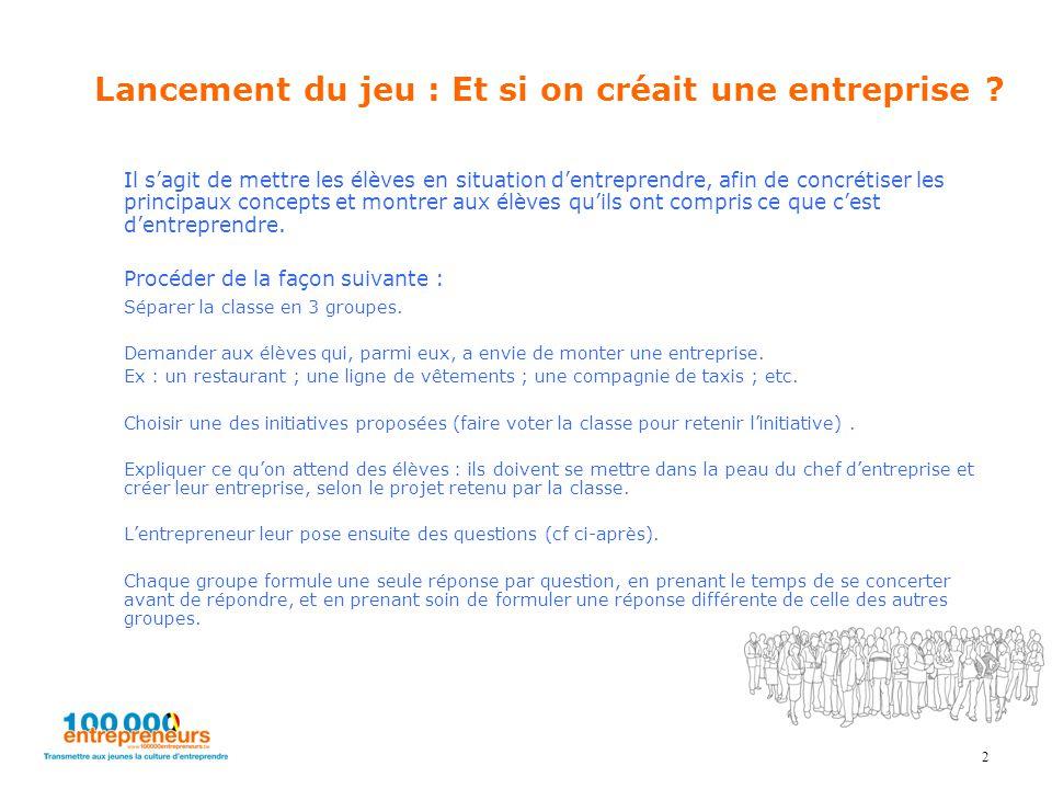 2 Lancement du jeu : Et si on créait une entreprise ? Il s'agit de mettre les élèves en situation d'entreprendre, afin de concrétiser les principaux c
