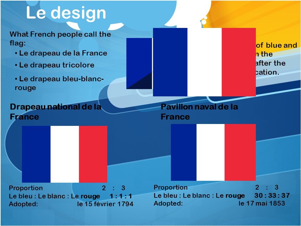 Le design Drapeau national de la France Pavillon naval de la France Proportion 2 : 3 Le bleu : Le blanc : Le rouge 1 : 1 : 1 Adopted: le 15 février 1794 The change of blue and red shade on the French flag after the 1976 modification.