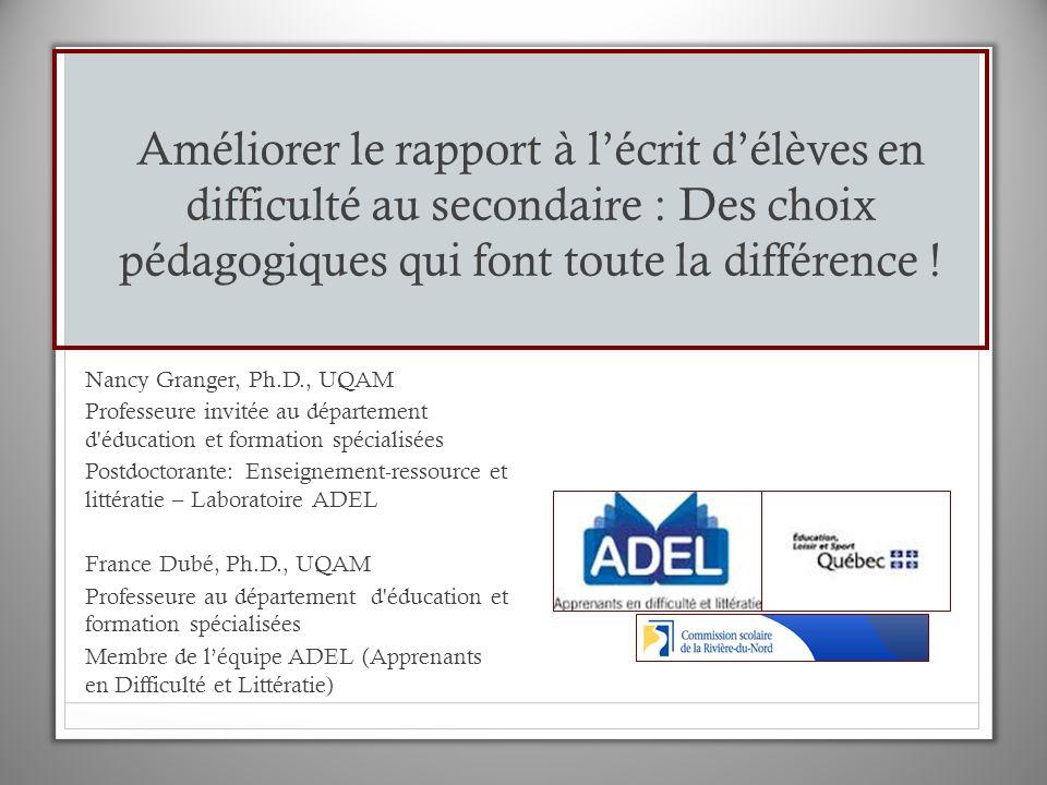 Enjeux de la transformation des pratiques pour la réussite des élèves en difficulté http://www.ledevoir.com/analphabetisme