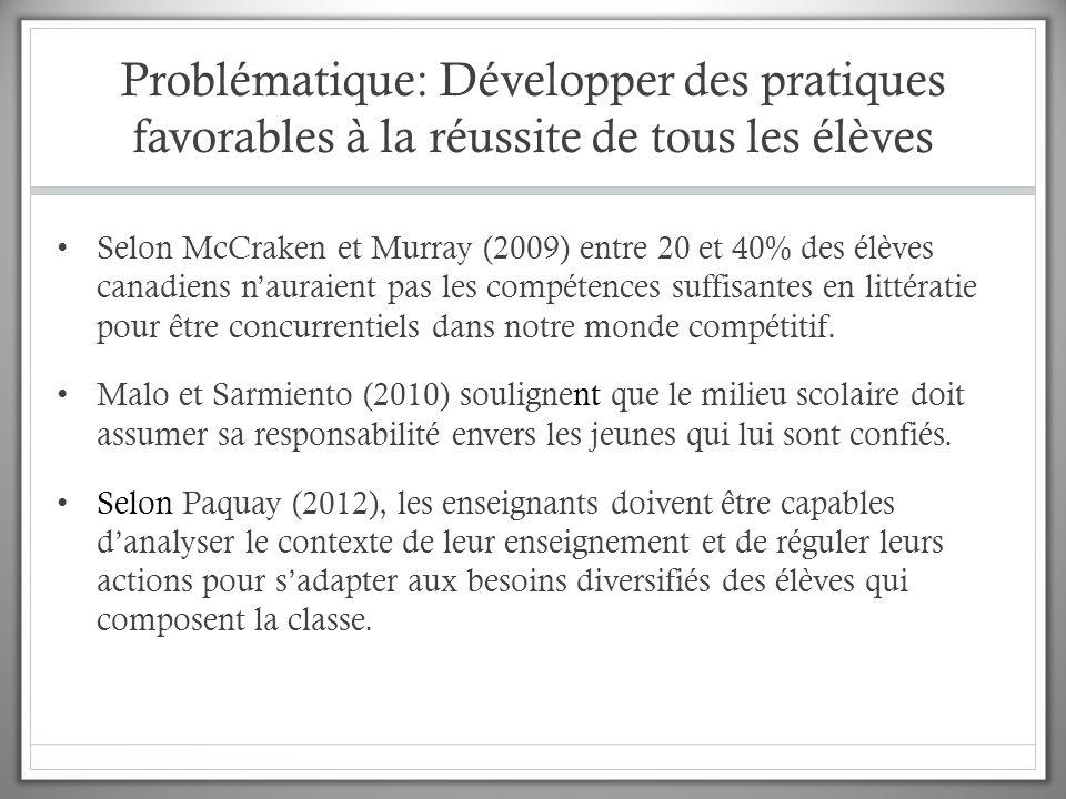 Problématique: Développer des pratiques favorables à la réussite de tous les élèves Selon McCraken et Murray (2009) entre 20 et 40% des élèves canadiens n'auraient pas les compétences suffisantes en littératie pour être concurrentiels dans notre monde compétitif.