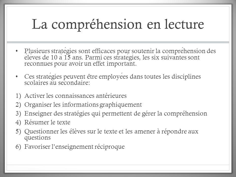 La compréhension en lecture Plusieurs strategies sont efficaces pour soutenir la comprehension des ele ̀ ves de 10 a ̀ 15 ans. Parmi ces strategies, l