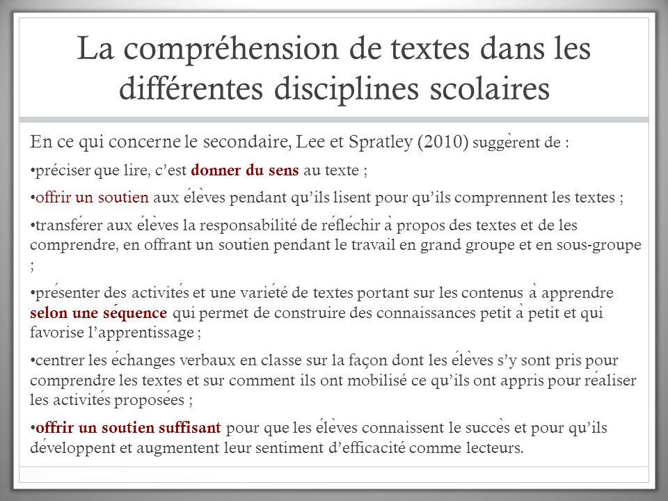 La compréhension de textes dans les différentes disciplines scolaires En ce qui concerne le secondaire, Lee et Spratley (2010) sugge ̀ rent de : préci