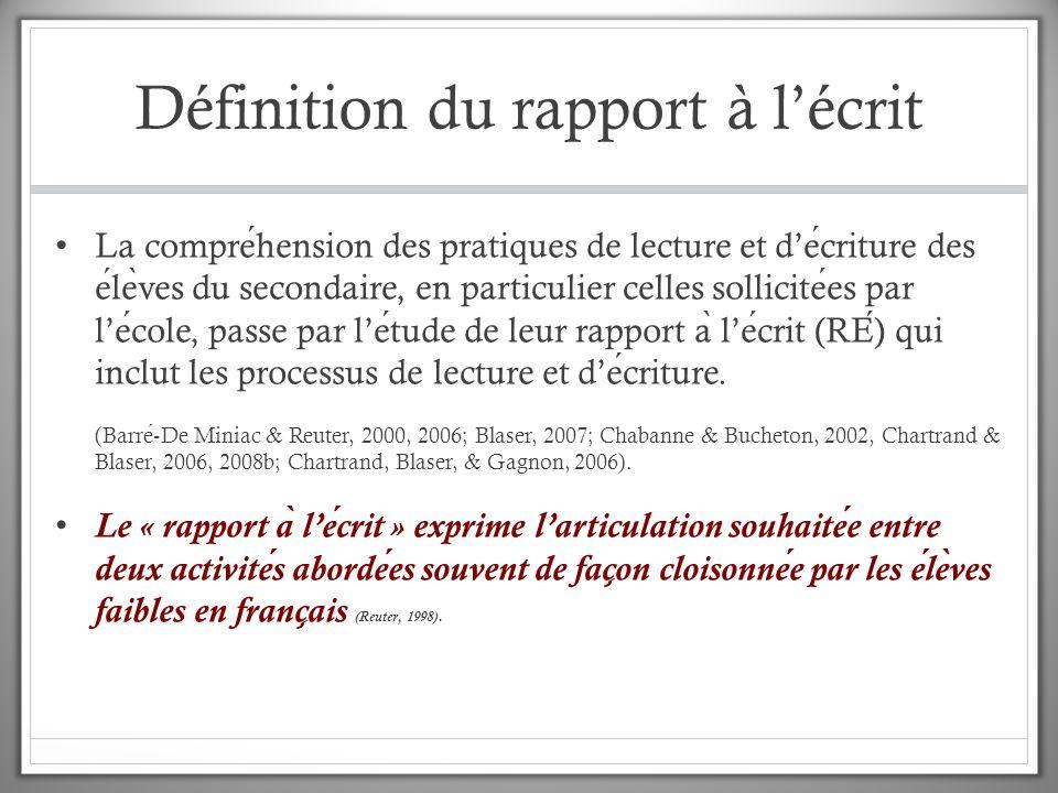 Définition du rapport à l'écrit L'ecriture consitue un processus reflexif a ̀ travers lequel le lecteur apprend a ̀ construire le sens d'un texte lu.