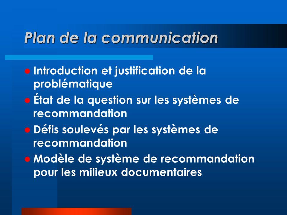 Plan de la communication Introduction et justification de la problématique État de la question sur les systèmes de recommandation Défis soulevés par les systèmes de recommandation Modèle de système de recommandation pour les milieux documentaires