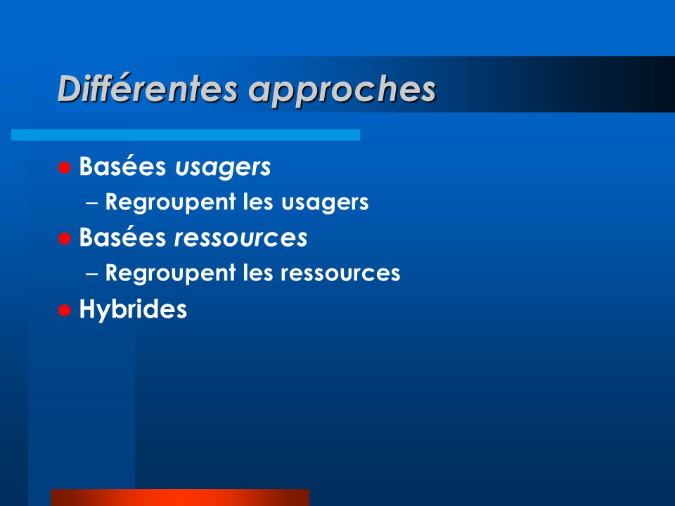 Différentes approches Basées usagers – Regroupent les usagers Basées ressources – Regroupent les ressources Hybrides