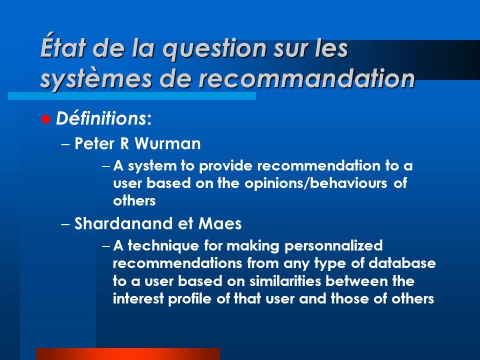 État de la question sur les systèmes de recommandation - suite Rôles d un système de recommandation: – Suggérer des ressources – Inférer les goûts et intérêts des personnes – Exploiter diverses sources de données explicites ou implicites pour y parvenir – Prédire l information intéressant les usagers