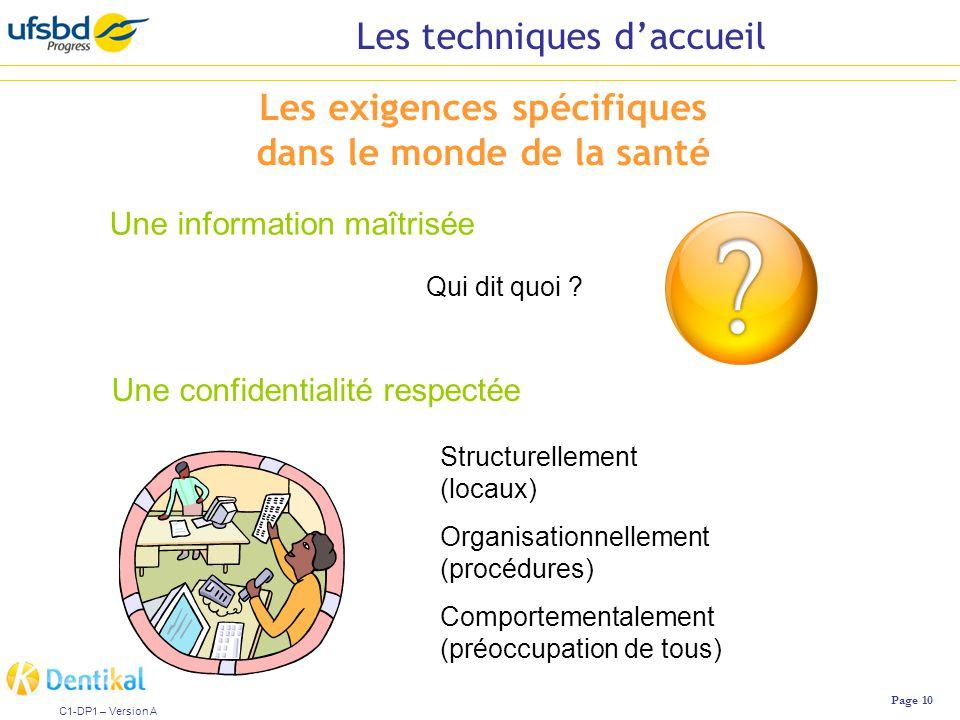 Les techniques d'accueil Page 10 C1-DP1 – Version A Les exigences spécifiques dans le monde de la santé Une information maîtrisée Une confidentialité respectée Qui dit quoi .