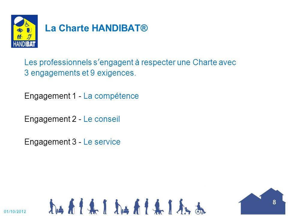 Engagement 1 - La compétence  justifier de la compétence d'un représentant ou d un salarié de l'entreprise  identifier les possibilités d'adaptabilité du bâti  suivre les évolutions techniques et connaître les dispositifs réglementaires dans les domaines de l'accessibilité et de l'adaptabilité du bâti 01/10/2012 9