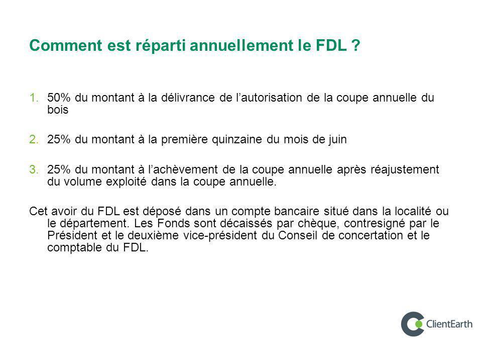 Comment est réparti annuellement le FDL ? 1. 50% du montant à la délivrance de l'autorisation de la coupe annuelle du bois 2. 25% du montant à la prem