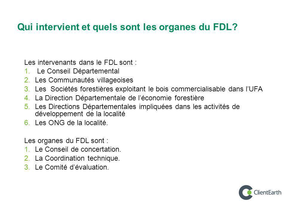Qui intervient et quels sont les organes du FDL? Les intervenants dans le FDL sont : 1. Le Conseil Départemental 2. Les Communautés villageoises 3. Le