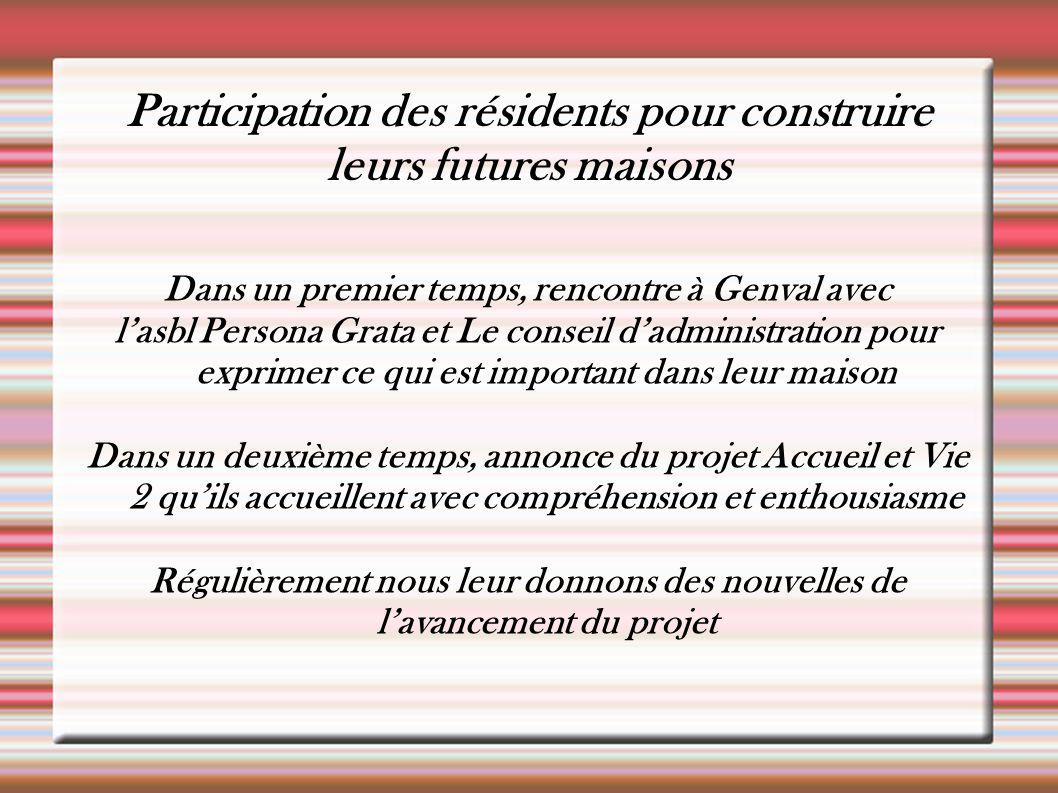 Participation des résidents pour construire leurs futures maisons Dans un premier temps, rencontre à Genval avec l'asbl Persona Grata et Le conseil d'