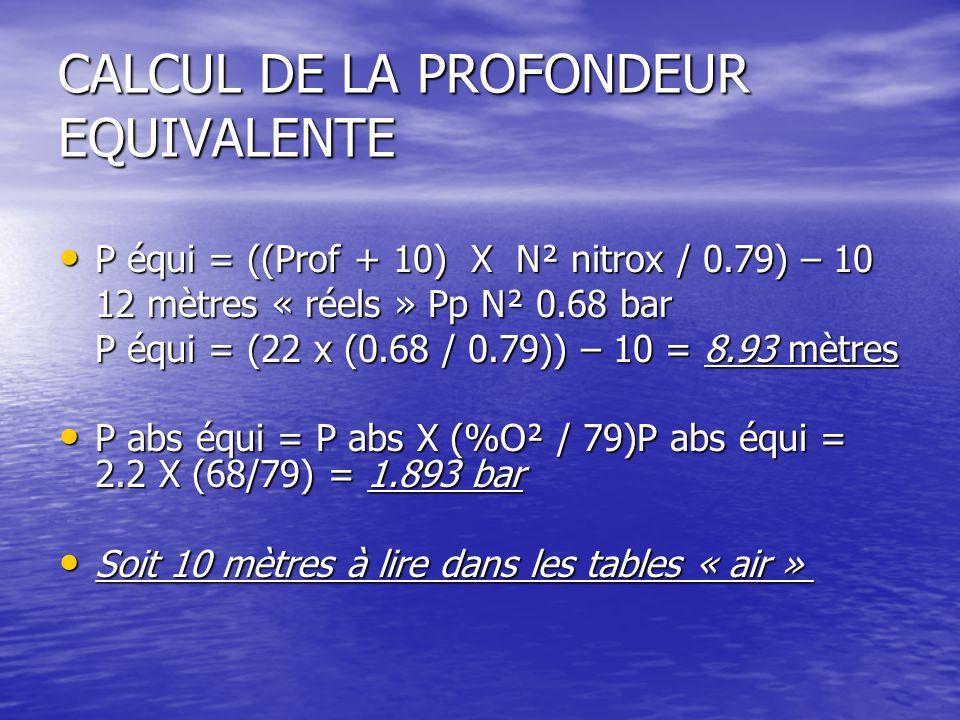 CALCUL DE LA PROFONDEUR EQUIVALENTE P équi = ((Prof + 10) X N² nitrox / 0.79) – 10 P équi = ((Prof + 10) X N² nitrox / 0.79) – 10 12 mètres « réels » Pp N² 0.68 bar P équi = (22 x (0.68 / 0.79)) – 10 = 8.93 mètres P abs équi = P abs X (%O² / 79)P abs équi = 2.2 X (68/79) = 1.893 bar P abs équi = P abs X (%O² / 79)P abs équi = 2.2 X (68/79) = 1.893 bar Soit 10 mètres à lire dans les tables « air » Soit 10 mètres à lire dans les tables « air »
