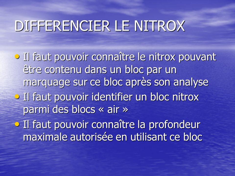 DIFFERENCIER LE NITROX Il faut pouvoir connaître le nitrox pouvant être contenu dans un bloc par un marquage sur ce bloc après son analyse Il faut pouvoir connaître le nitrox pouvant être contenu dans un bloc par un marquage sur ce bloc après son analyse Il faut pouvoir identifier un bloc nitrox parmi des blocs « air » Il faut pouvoir identifier un bloc nitrox parmi des blocs « air » Il faut pouvoir connaître la profondeur maximale autorisée en utilisant ce bloc Il faut pouvoir connaître la profondeur maximale autorisée en utilisant ce bloc