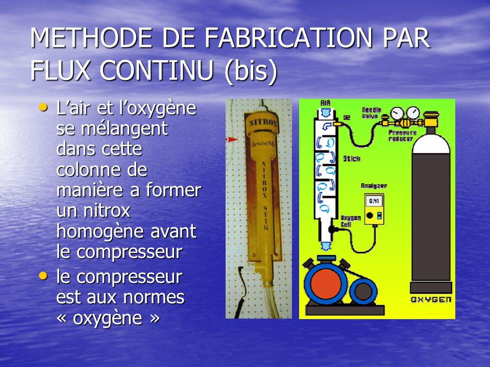 METHODE DE FABRICATION PAR FLUX CONTINU (bis) L'air et l'oxygène se mélangent dans cette colonne de manière a former un nitrox homogène avant le compr