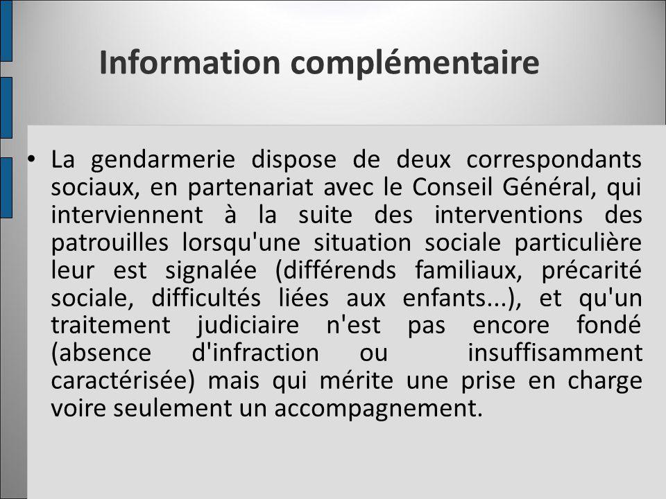 Information complémentaire La gendarmerie dispose de deux correspondants sociaux, en partenariat avec le Conseil Général, qui interviennent à la suite
