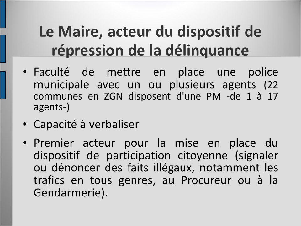 Le Maire, acteur du dispositif de répression de la délinquance Faculté de mettre en place une police municipale avec un ou plusieurs agents (22 commun