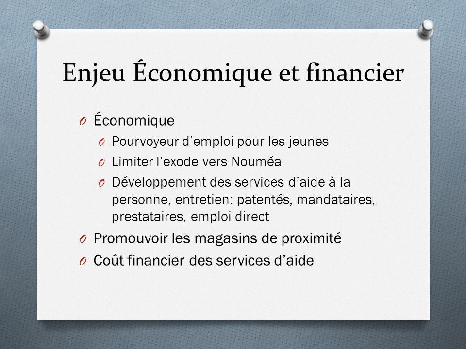 Enjeu Économique et financier O Économique O Pourvoyeur d'emploi pour les jeunes O Limiter l'exode vers Nouméa O Développement des services d'aide à l