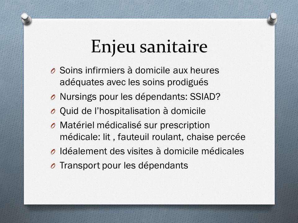 Enjeu sanitaire O Soins infirmiers à domicile aux heures adéquates avec les soins prodigués O Nursings pour les dépendants: SSIAD? O Quid de l'hospita