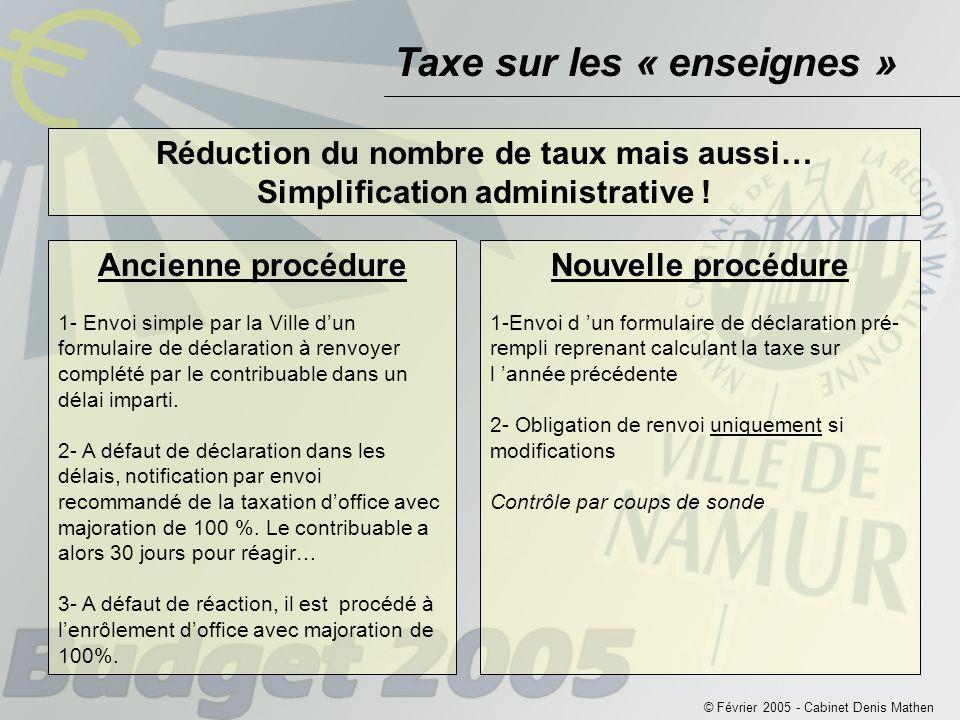 Taxe sur les « enseignes » © Février 2005 - Cabinet Denis Mathen Réduction du nombre de taux mais aussi… Simplification administrative .