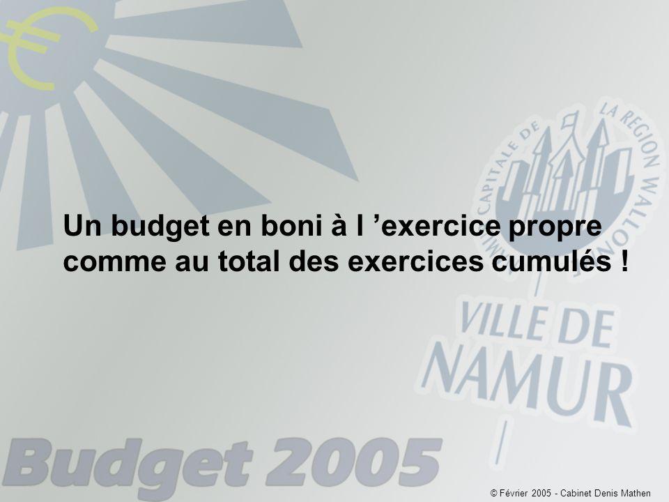 Un budget en boni à l 'exercice propre comme au total des exercices cumulés .