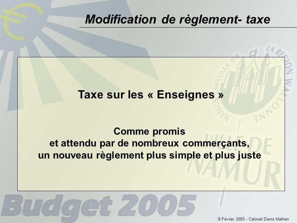Modification de règlement- taxe © Février 2005 - Cabinet Denis Mathen Taxe sur les « Enseignes » Comme promis et attendu par de nombreux commerçants, un nouveau règlement plus simple et plus juste