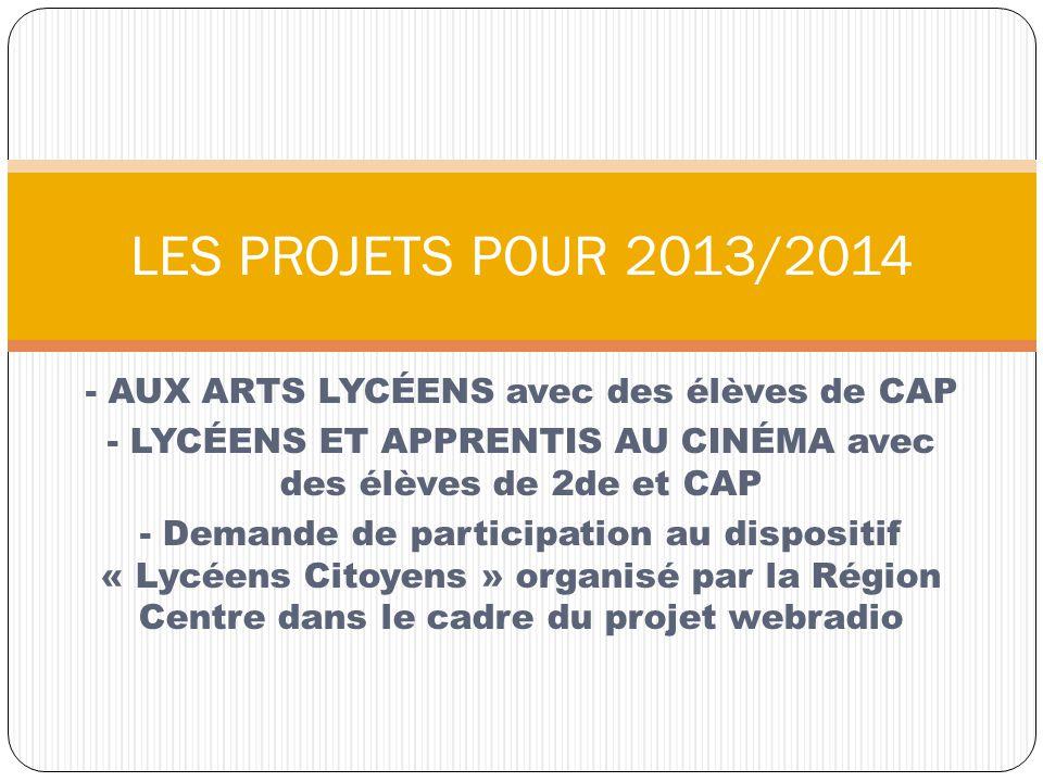 - AUX ARTS LYCÉENS avec des élèves de CAP - LYCÉENS ET APPRENTIS AU CINÉMA avec des élèves de 2de et CAP - Demande de participation au dispositif « Ly
